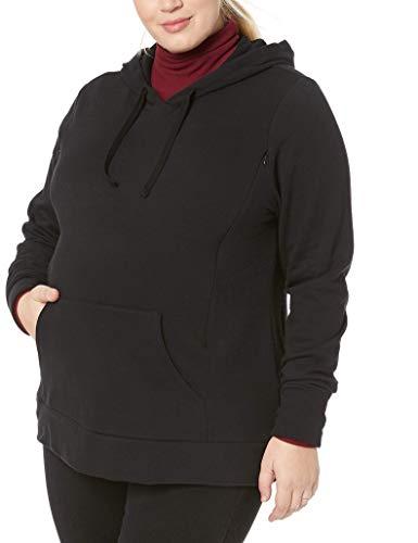 Motherhood Maternity Women's Maternity Nursing Long Sleeve Hooded Fleece Sweatshirt, Black, Small