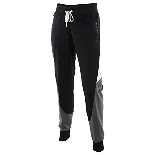 Nike W NSW TRK Pant CF PK CB Pantaloni da Tuta, Donna, Donna, W NSW TRK Pant CF PK CB, Nero/Bianco/Grigio Scuro (Black/White/Dark Grey/Black), L