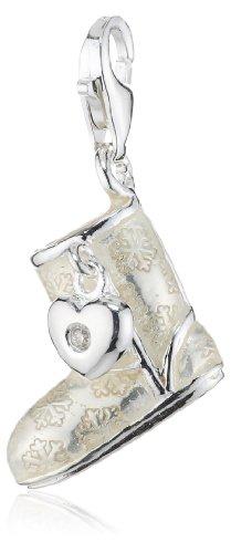 Thomas Sabo Damen-Anhänger Diamond Charm Club Boot mit einem echten Diamant weiß emailliert 925 Sterling Silber DC0022-154-14