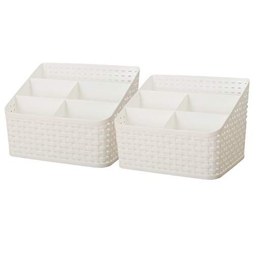 Cabilock 2 Piezas de Botella de Cepillo Cosmético Caja de Almacenamiento Blanca Dividida para Tocador Maquillaje Vitrina Organizador de Compartimentos Diversos para El Baño