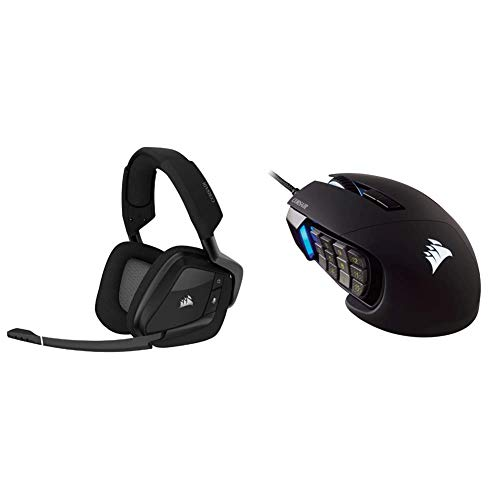 Corsair Void RGB Elite Wireless Premium Gaming Headset & Scimitar Pro RGB - MMO Gaming Mouse - 16,000 DPI Optical Sensor - 12 Programmable Side Buttons - Black