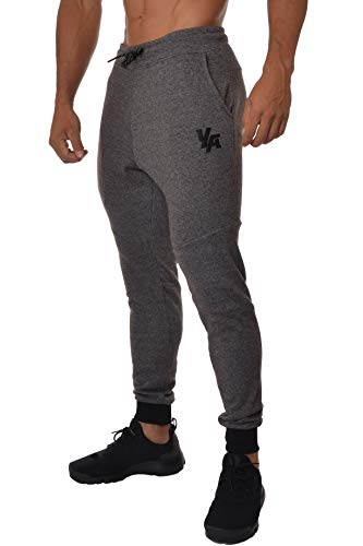 YoungLA Slim Fit Jogginghose für Herren | French Terry Baumwolle Skinny Tapered Sweatpants | Gym Sports Activewear Workout Kleidung 202 - Schwarz - Klein