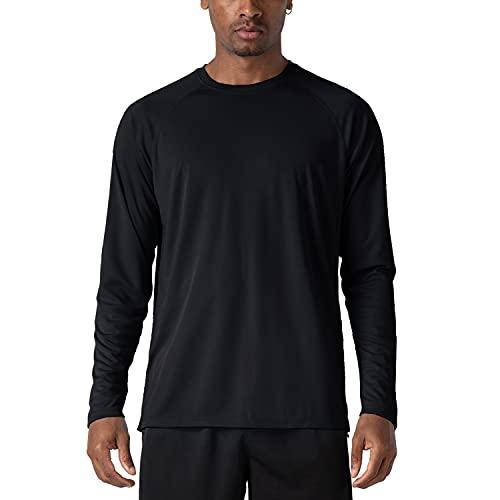 KEFITEVD Camiseta de Manga Larga UPF 50+ para Hombre Camisas de Protección UV Tops de Protección Solar para Exteriores Negro