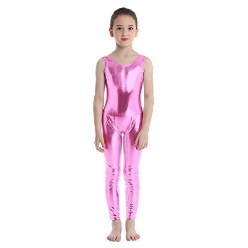 YOOJIA Kinder glänzende Sportbody Gymnastikanzug Ärmellos Mädchen Ballettanzug Metallic Ballett Training Body Bodysuit Jumpsuit Sport Overall Fitness Trikot Rosa 98-104/3-4 Jahre