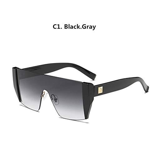 HUWAIYUNDONG Gafas De Sol,Gafas De Sol Mujer Vintage Street Avant-Garde De Bastidor Pequeño Hombre Gafas De Sol Gafas Sol Personalidad Exterior Gris Negro.