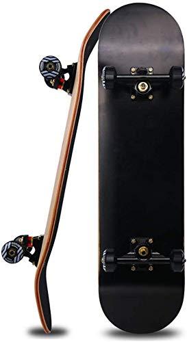 Skateboard, Cuatro Ruedas Doble Rocker Road Tablero Adulto Hombres y Mujeres Skateboard Wheel Scooter Maple, 80x20cm,B