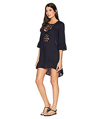 NFASHIONSO Women Crochet Chiffon Tassel Swimsuit Bikini Pom Pom Trim Swimwear Beach Cover up/Beach Dress