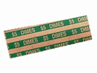 Green Flat Dime Coin Wrappers Heavy Duty ABA Standards 40 Pack