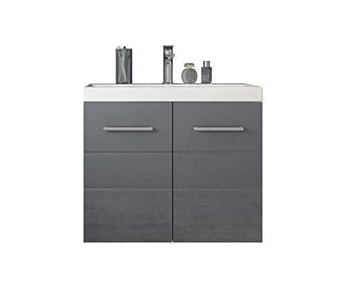 Badezimmer Badmöbel Set Toledo 01 60 x 35 cm Hochglanz Grau - Unterschrank Schrank Waschbecken Waschtisch