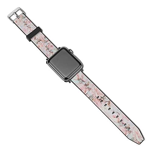 La última correa de reloj compatible con Apple Watch Band 38 mm 40 mm Correa de repuesto para iWatch Series 5/4/3/2/1, Vintage Romántico Blush Rosa Verde Turquesa Bohemia Rosas Floral