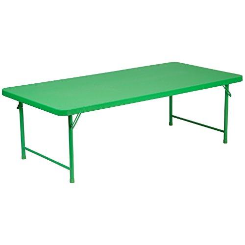 Flash Furniture 30''W x 60''L x 19''H Kid's Green Plastic Folding Table
