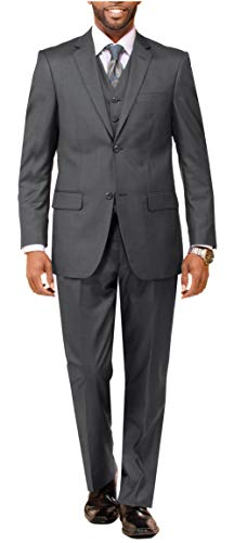 Mens Suit Classic Fit 3 Piece Suit for Men Wedding and Formal Suit Regular Traditional fit Big and Tall Business Suit 46L Grey