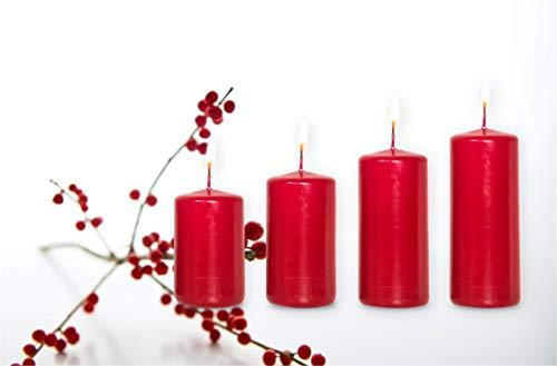 Smart Planet® Kerzen Ambiente Weihnachten - 4er Set Stumpen Kerze Bordeaux Stumpenkerzen in 4 Größen Weihnachtskerzen - Weihnachtskranz Adventskranz