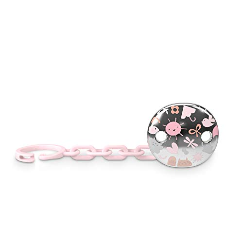 Suavinex Broche Pinza de Chupetes para Bebés +0 Meses, Broche Joya Efecto Metalizado Plateado, 307210 Rosa