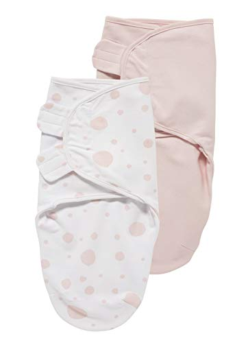 SwaddleMeyco Pucksack-Pucktuch S/M (0-3 Monate) 2er Set DOTS (Punkte)/UNI Rosa-Weiss