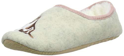 Joules SLIPPET, Zapatillas de Estar por casa Mujer, Perro Blanco Crema, Small EU