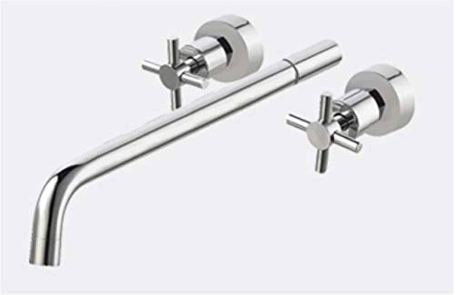 redOOY Bathroom Sink Taps Basin Hot And Cold Bathtub Faucet Double Hole Wash Basin Sink In Wall