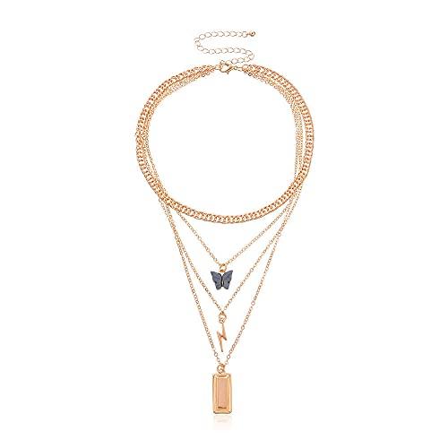 Colgante Mariposa Relámpago Oro Nugget Colgante Retro Moda Multicapa Aleación Collar Corto Mujeres