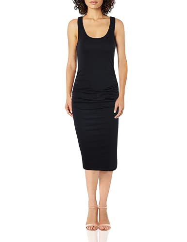 Missufe Women s Ruched Bodycon Sundress Midi Fitted Casual Dress (Black, Small)