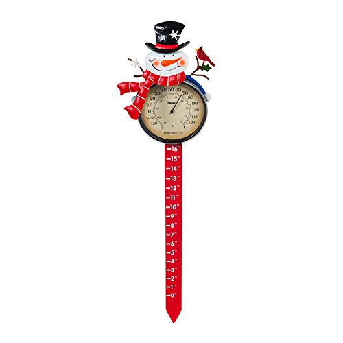 Evergreen Garden 36quot H Snowman Thermometer and Snow Gauge Garden Stake 669 x 1 x 36 Inches