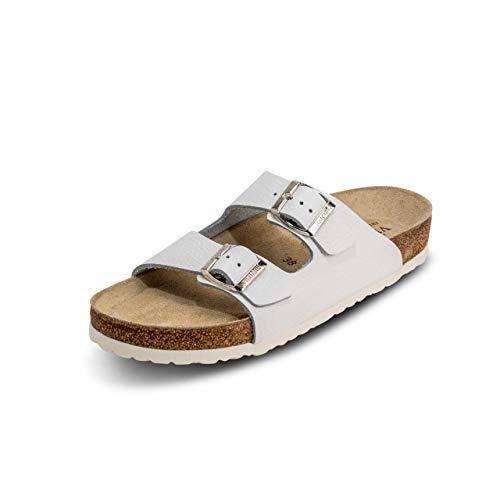 VITAFORM® Damen Und Herren Pantolette Sandale Echt Leder Mit Naturkork – Bequemer Hausschuh Mit Luftpolsterfußbett (Weiß, Numeric_46)