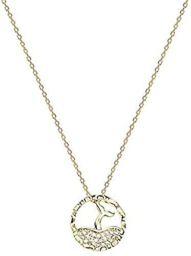 ZGYFJCH Co.,ltd Collares Collar de Moda Collar de Anillo de Cola de pez Cadena de clavícula Femenina