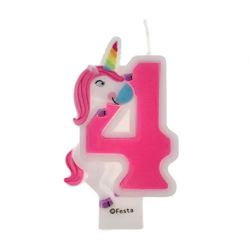 Velas de Cumpleaños Diseño Unicornio de 9cm, Adecuadas para fiesta de Cumpleaños para Niños Niñas Color Rosa blanca Numero 4