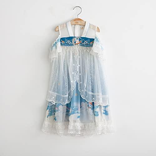 HUAPIN Vestido de Traje Hanfu de Estilo Chino Bordado para niñas de Verano 2021 90yards Lightblue