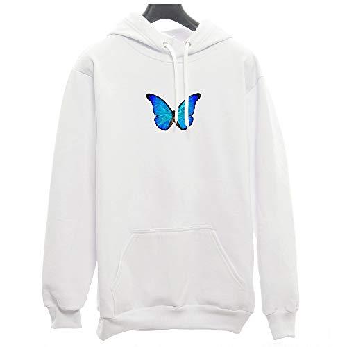 Moletom Canguru Borboleta Azul Butterfly Tumblr (P, BRANCO-AZUL)