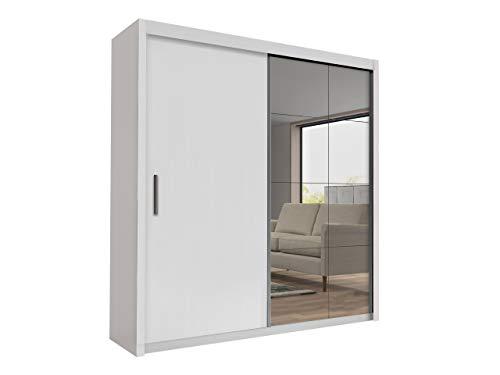 Mirjan24 Schwebetürenschrank Peseto 200, Kleiderschrank mit Spiegel und Kleiderstange, Garderobenschrank, Dielenschrank, Flurschrank (Weiß, Modell: 200)