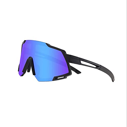 ADSIKOOJF Gafas De Sol Deportivas con 4 Intercambiable Lentes,Hombres Mujeres Polarizado Gafas Ciclismo para Béisbol Corriendo Pesca Golf Conducción Gafas De Sol-Azul y Negro 14.2x6cm(6x2inch)