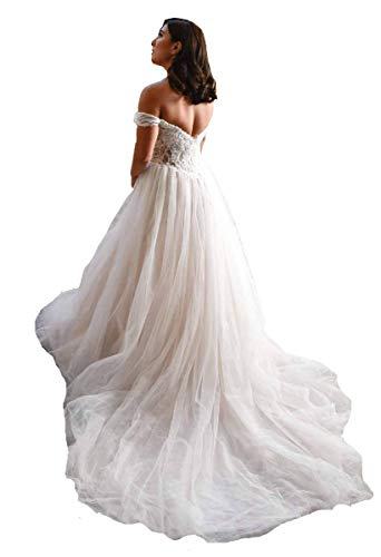 Off Shoulder Elegant Wedding Dresses Ball Gown Bridal Gowns for Bride Sweetheart A-Line Tulle Lace Sweep Train Ivory 20 Plus