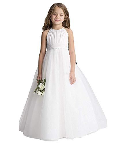 CDE Boho Plissiertes Lange Kinder Chiffon Kleider mit Gürtel/Chic A-Linie Kommunionkleider Brautjungfernkleider Blumenmädchenkleider für Mädchen 2-12 Jahr (Weiß, Größe 10)