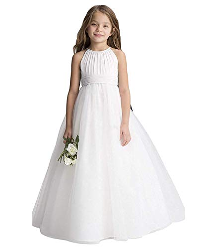 CDE Boho - Vestido largo plisado de gasa con cinturón/elegante línea A, vestido de comunión, vestido de dama de honor, vestido de niña de flores para niñas de 2 a 12 años Blanco 38 W/32 L