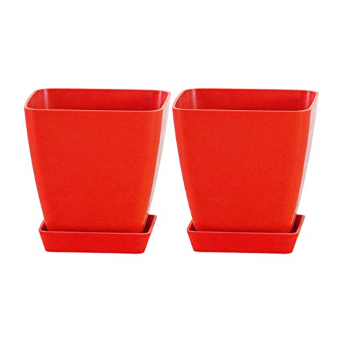 Yardwe Macetas de Plantas de Flores de Plástico 2 Piezas Macetas de Vivero Pequeñas Macetas de Inicio de Semillas Mini Macetas Suculentas Contenedor (Rojo)