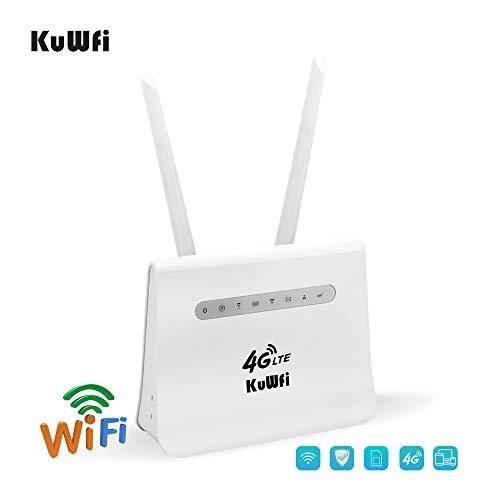 KuWFi 4G LTE Router CPE Compatible con Tarjeta SIM Puerto LAN 300Mbps 4G LTE CPE Móvil WiFi Wireless Router Funciona con 32 usuarios de WiFi