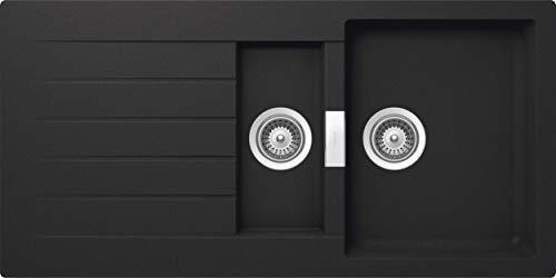 SCHOCK Küchenspüle 100 x 50 cm Primus D-150 Onyx - CRISTALITE dunkelgraue Granitspüle mit 1 ½ Becken ab 60 cm Unterschrank-Breite