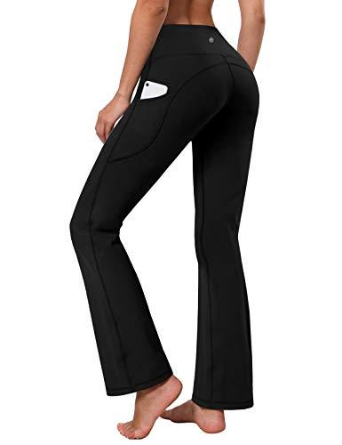 "BUBBLELIME 29""/31""/33""/35"" 4 Styles Women's High Waist Bootcut Yoga Pants - Side Pockets_JetBlack XL-35 Inseam"