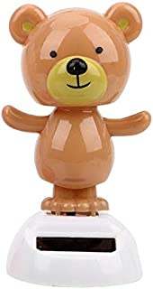 Zereff Swinging Bobble Doll Toy Car Ornament Cute Bear Dancing Toy Solar Powered Dashboard Decoration Interior Accessories - (Color Name: Brown)