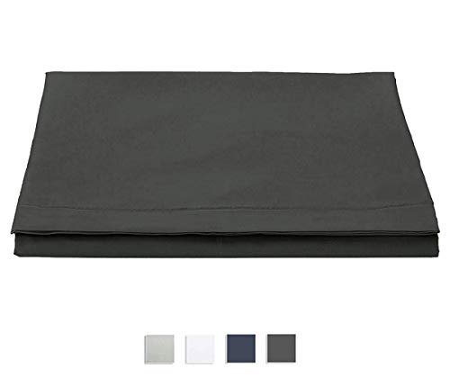 Pizuna 400 Thread Count Cotton Flat Double Bed Sheets Dark Grey, 100% Long Staple Cotton Flat Bed Sheets Double Bed, Soft Sateen Flat Double Sheet (100% Cotton Bed Flat Sheet Double Dark Gray)