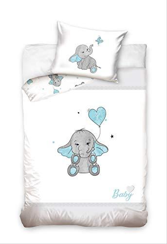 Parure de lit pour bébé 2 pièces 100% coton - Dimensions : 100 x 135 cm - 40 x 60 cm