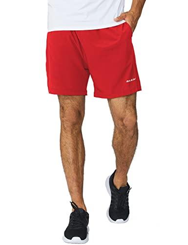 BALEAF Men's 5' Running Athletic Shorts Zipper Pocket for Workout Gym Sports Red Size M