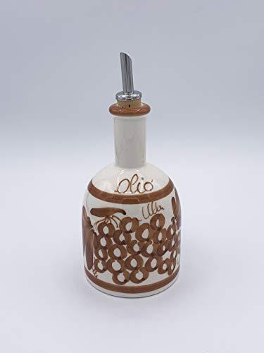 Aceitera redonda de cerámica pintada a mano con dibujos Romagnoli cobre Made in Italy