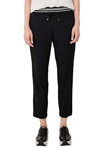 s.Oliver Damen Regular Fit: Tapered leg-Hose im sportiven Look black 40
