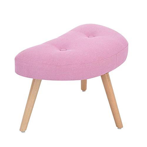 JXJ Taburete de sofá con cambio creativo para zapatos, taburete nórdico, de madera maciza, pequeño banco, tocador, multifunción, para el hogar, color rosa, tamaño: forma de media luna