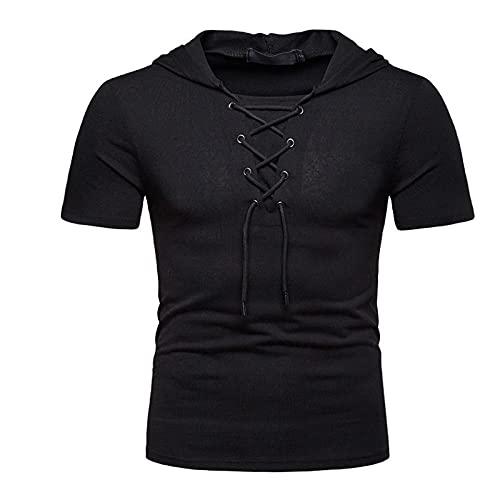 CFWL Camiseta De Manga Corta para Hombre Camiseta Casual con Capucha De Estilo BritáNico para Regular-Fit...