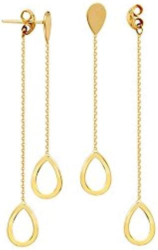 OhrStücker 14Karat Gelb Gold Vorne bis hinten Tear mit offenen Tropfenform