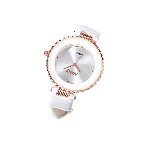 Moligin Vestido Ultrafino Blanco sin Escala Reloj para Mujeres Mujeres analógica Cuarzo Reloj con Cuero Brazalete