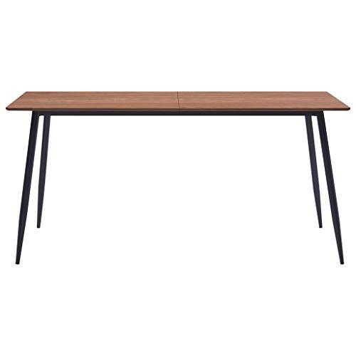 Tidyard Esstisch MDF Rechteckig Esszimmertisch Küchentisch Wohnzimmer Tisch, 140 x 70 x 75 cm, Braun