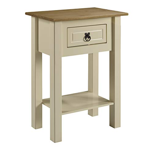 W 53 x D 35 x H 73 cm Mews Corona 1 Drawer Console Table pine Brown